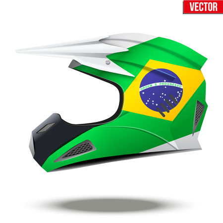 mx: Original Motorcycle Helmets with flag of Brazil. Extreme enduro motocross style.