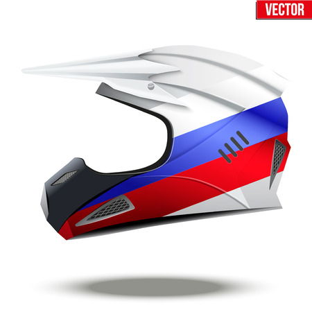 mx: Russia Motorcycle Helmets with flag of Japan. Extreme enduro motocross style. Illustration