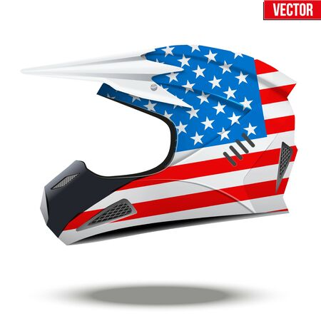mx: Original Motorcycle Helmets with flag of USA. Extreme enduro motocross style.