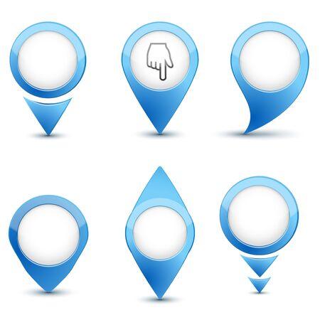 worldwide website: Set of map mark icons. Illustration isolated on white background.
