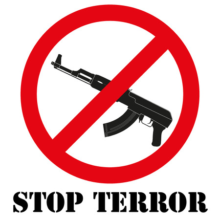 extremist: Sign with gun and symbol Stop terrorism. Graphic symbol. Illustration Isolated on white background.