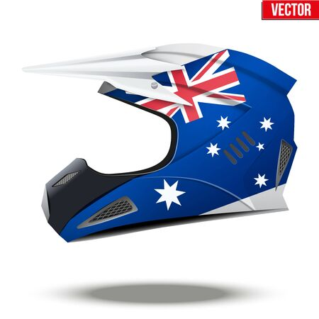 mx: Original Motorcycle Helmets with flag of Australia. Extreme enduro motocross style. Vector Illustration.