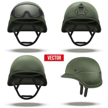 conflict: Conjunto de cascos tácticos militares de reacción rápida. Color verde. Ejército y el símbolo de la policía de la defensa. Ilustración vectorial aislados en fondo blanco. Editable. Vectores