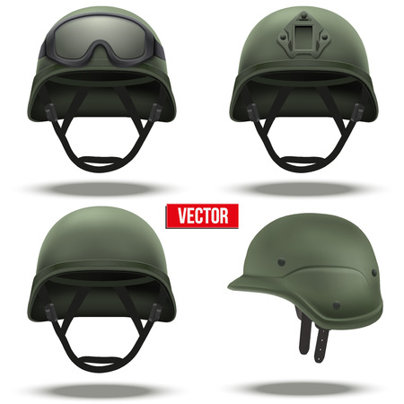 military uniform: Set of Military tactical helmets of rapid reaction. Green color. Army and police symbol of defense. Vector illustration Isolated on white background. Editable.