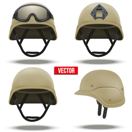 army: Set of Military tactical helmets of rapid reaction. Desert color. Army and police symbol of defense. Vector illustration Isolated on white background. Editable. Illustration