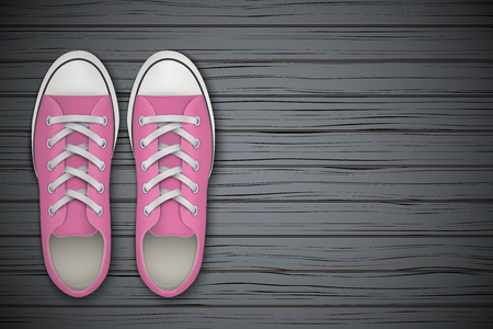 wooden shoes: Pink gumshoes on wooden background. Sport shoes Top view. Vector Illustration.