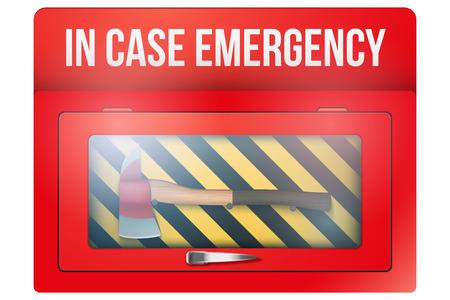 emergencia: Cuadro rojo con el hacha en el caso del vidrio rompible emergencia. Ilustración del vector aislado en el fondo blanco. Editable.