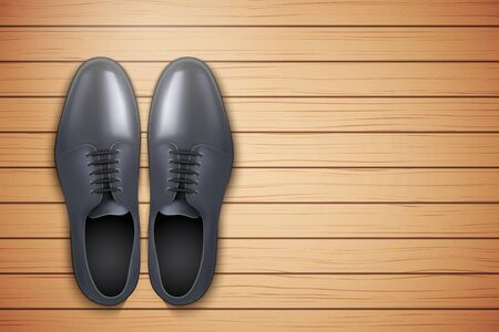 wooden shoes: Classic Men Shoes on wooden background. Top view. Vector Illustration.