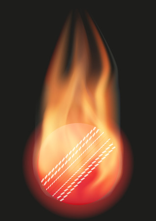 red ball: Burning Cricket ball with a tail of flame. Vector illustration Isolated on background. Illustration