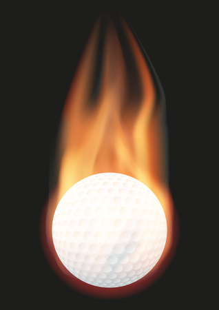 red ball: Burning golf ball with a tail of flame. Vector illustration Isolated on background.