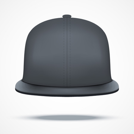 peak hat: Layout of Male black rap cap. Front view.. A template simple example. Editable Vector Illustration isolated on white background.