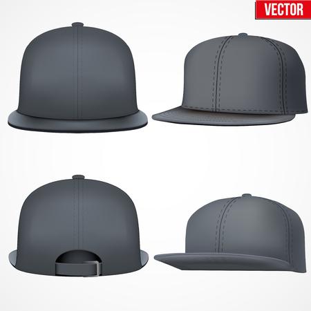 Set van lay-out van Male zwarte rap cap. Een template eenvoudig voorbeeld. Bewerkbare vector illustratie op een witte achtergrond. Stock Illustratie