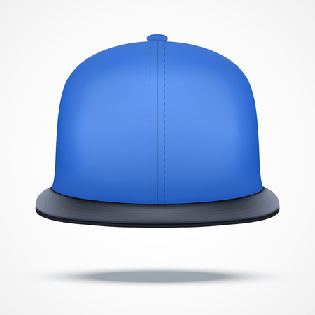 hat with visor: Layout of blue rap cap. Front view.. A template simple example. Editable Vector Illustration isolated on white background.