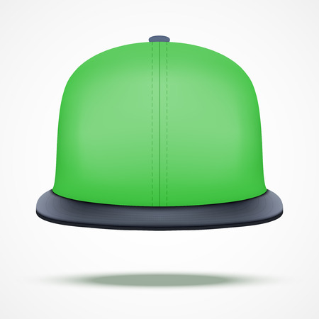 an example: Layout of color rap cap. Front view.. A template simple example. Editable Vector Illustration isolated on white background.