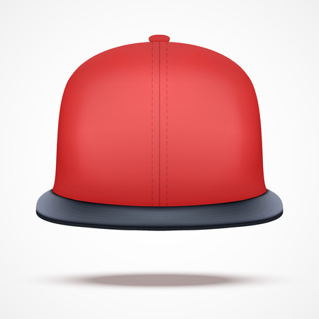 an example: Layout of red rap cap. Front view.. A template simple example. Editable Vector Illustration isolated on white background.