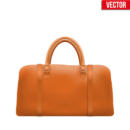 leather bag: Classic Stylish Leather Handle Bag. Fashion accessory. Vector illustration Isolated on white background. Illustration