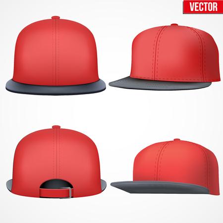 Set van lay-out van Mannelijke rode rap cap. Een template eenvoudig voorbeeld. Bewerkbare vector illustratie op een witte achtergrond. Stock Illustratie