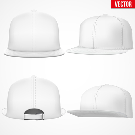 Set of Layout of Male white rap cap. A template simple example. Editable Vector Illustration isolated on white background.