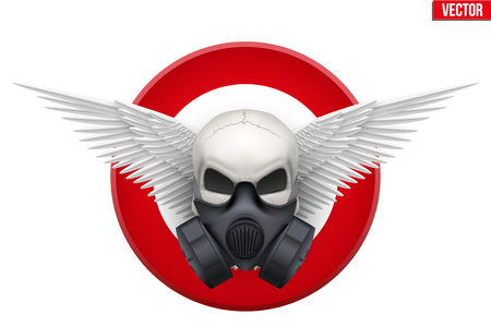 gas mask warning sign: Symbol of Human skull with Respirator mask and wings. Vector isolated white background.