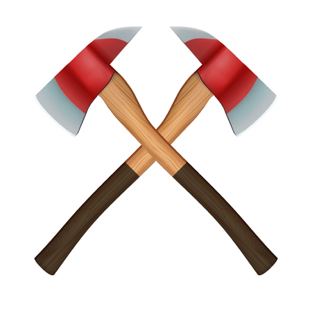 axes: Crossed classic firefighter axes.  Illustration isolated on white background