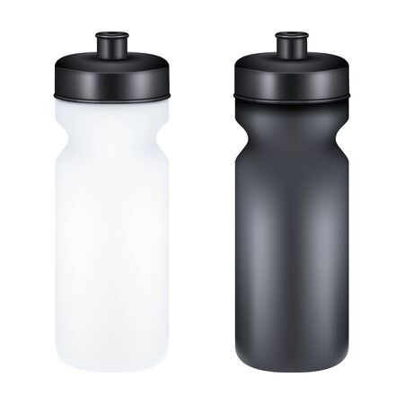 gainer: Mockup Plastic Sport Nutrition Drink Bottle for fitness. Whey Protein and Gainer.  Illustration isolated on white background