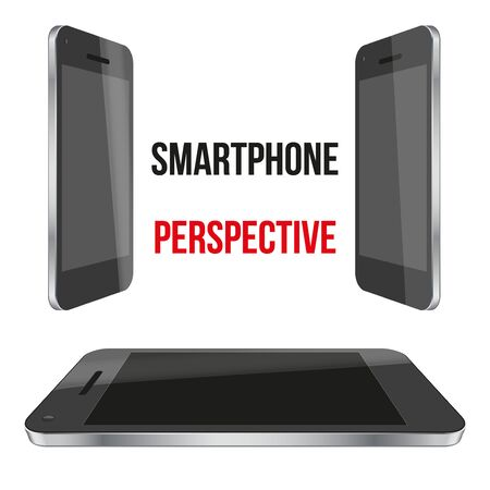 impersonal: Mockup of impersonal smartphones perspective realistic. For game and application.  Illustration isolated on white background. Stock Photo