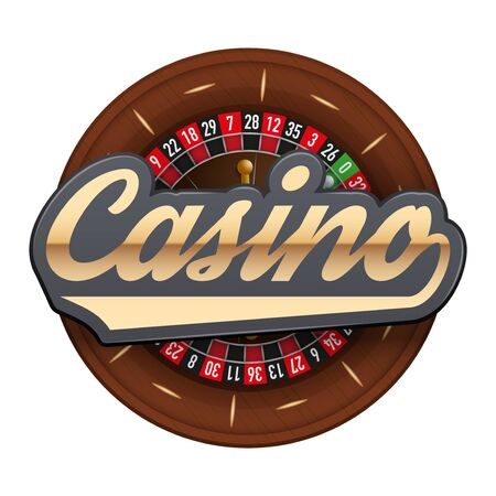 roulette wheel: Gambling roulette wheel with Casino tag.  illustration isolated on white background.