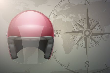 drive around the world: Background of Motorcyclist traveler. Helmet on map. Editable Vector Illustration.