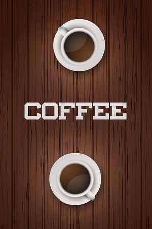 friend  nobody: Two white cups of coffee on wooden table. Top view for menu and background. Vector Illustration