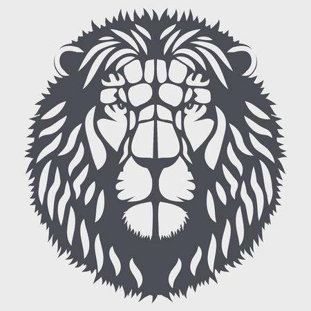 Symbol der Kopf des Löwen. Maskottchen oder Logo für Ihr Design. Vector Abbildung auf Hintergrund. Standard-Bild - 50461821