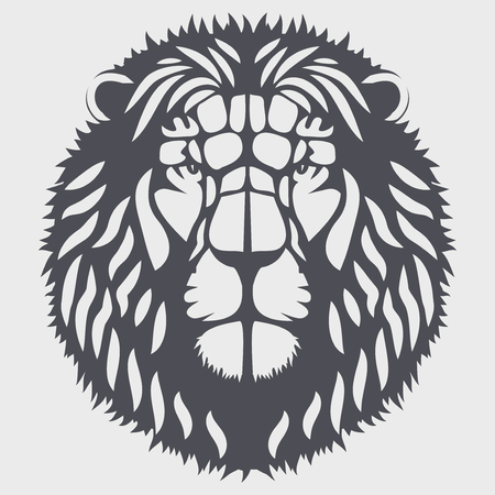 Symbol of head of the lion. Mascot or logo for your design. Vector Illustration isolated on background. Logó