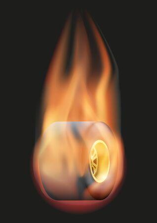 La quema de la rueda del neumático de carreras con una cola de fuego. Ilustración del vector aislado en el fondo.