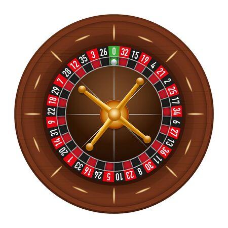 casino wheel: Casino gambling roulette wheel.  illustration isolated on white background.