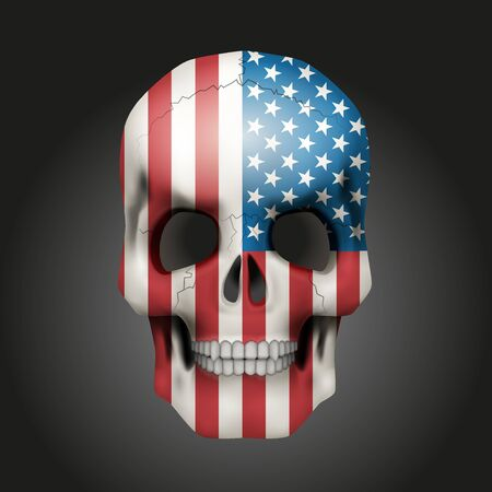 honour: Skull with texture USA flag.  Illustration isolated on background.