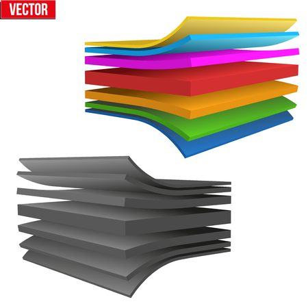 multilayer: Technical illustration of a multilayer fabric. Demonstration of the structure of the material. Vector Illustration isolated on white background