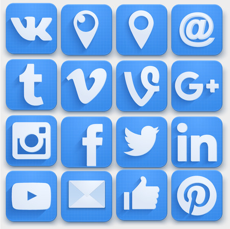 social networking: Set of Social media icons networking. Premium style. Vector llustration.