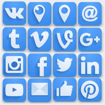 Zestaw ikon mediów społecznościowych w sieci. Styl premium. Foka wektor.