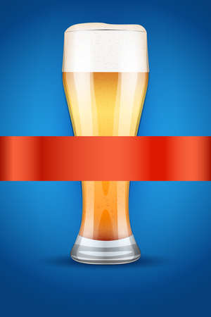 malt: Beer menu poster or cover. Glass with beer and grain malt on background.  Illustration. Stock Photo