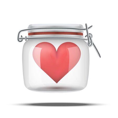 preserve: Red heart inside glass jar.  Illustration isolated on white background.