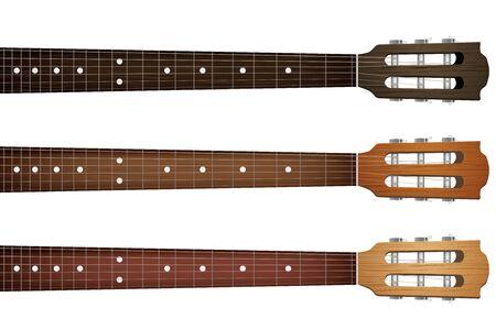 fingering: Set of Classic Guitars neck fretboard and headstock.  Illustration isolated on white background.