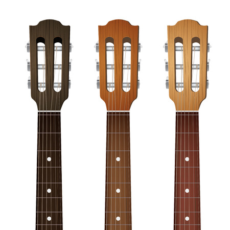 fingerboard: Set of Classic Guitars neck fretboard and headstock.  Illustration isolated on white background.