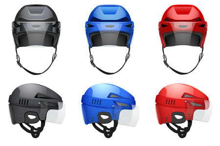 visor: Set of Classic Hockey Helmets with glass visor. Front and side view. Sports  illustration isolated on white background.