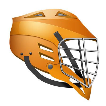 lacrosse: Orange Lacrosse Helmet Side View. Sports  illustration isolated on white background.