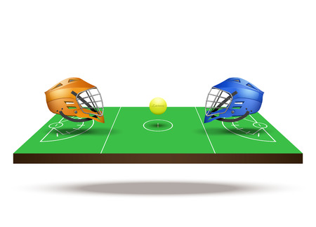lacrosse: Symbol of lacrosse game. Helmets and ball on field in three-dimensional space.  illustration. Stock Photo