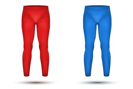 thermo: Base layer compression pants of thermo fabric. Sample typical technical illustration. Red and blue color.  Illustration isolated on white background
