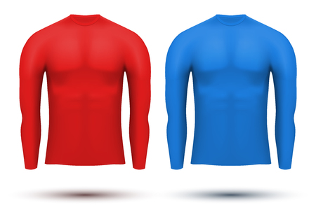 Base layer compression shirt with long sleeve of thermo fabric. Sample typical technical illustration. Red and blue color.   Illustration isolated on white background