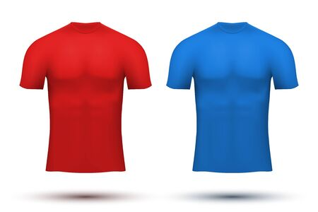 perspiration: Base layer compression t-shirt of thermo fabric. Sample typical technical illustration. Red and blue color.  Illustration isolated on white background