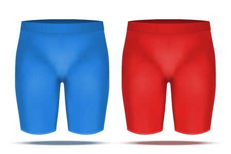 thermo: Base layer compression trousers of thermo fabric. Sample typical technical illustration. Red and blue color.  Illustration isolated on white background Stock Photo