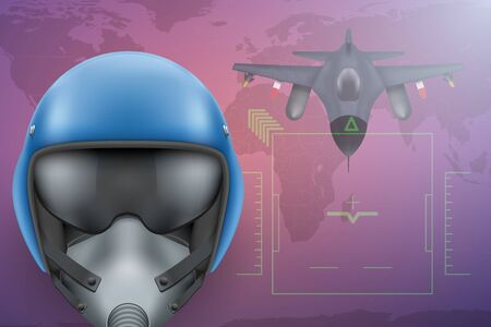 bomber: Background of Military Pilot and Bomber aircraft. Air Force Helmet on map. Editable  Illustration. Stock Photo