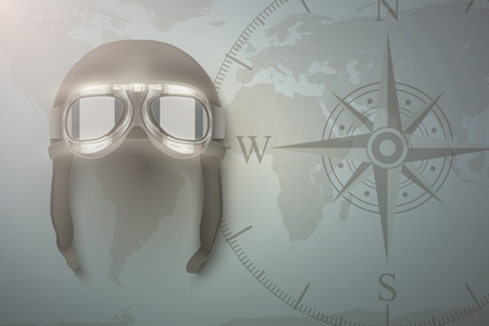 Background of Aviator and aircraft. Helmet on map. Editable Illustration.